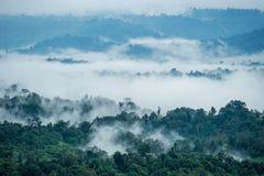 Vista aerea delle colline in rurale coperto di nebbia di mattina Immagini Stock Libere da Diritti