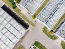 Vista aerea delle costruzioni della serra Fotografia Stock Libera da Diritti