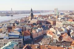 Vista aerea delle costruzioni nel vecchio centro di Riga Immagine Stock Libera da Diritti