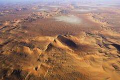 Vista aerea delle dune di sabbia allo sfregamento Al Khali Fotografie Stock Libere da Diritti