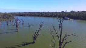 Vista aerea delle gomme morte e della festa Murray River Australia della casa galleggiante stock footage