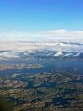 Vista aerea delle isole alla Norvegia Fotografia Stock