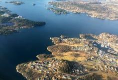 Vista aerea delle isole alla Norvegia Immagine Stock