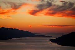Vista aerea delle isole dalmate al tramonto immagine stock