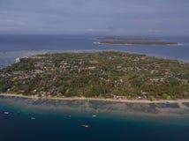 Vista aerea delle isole, dell'aria, di Meno e di Trawangan di Gili fotografia stock