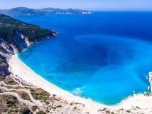 Vista aerea delle isole di Kefalonia Grecia Ioanian della spiaggia di Myrtos Fotografia Stock Libera da Diritti