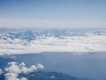 Vista aerea delle montagne delle alpi Fotografia Stock
