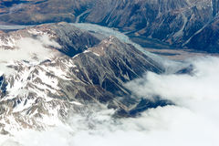Vista aerea delle montagne della Nuova Zelanda, isola del sud La foto è Tak Fotografia Stock Libera da Diritti