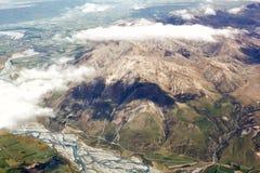 Vista aerea delle montagne della Nuova Zelanda, isola del sud La foto è Tak Fotografia Stock