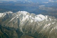 Vista aerea delle montagne delle alpi della Francia della montagna di Montblanc Mont Blanc Fotografia Stock Libera da Diritti