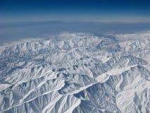 Vista aerea delle montagne di Snowy Immagini Stock