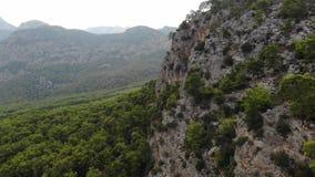 Vista aerea delle montagne e del parco nazionale della costa in Turchia, villaggio di Beldibi Bello paesaggio della montagna con  archivi video