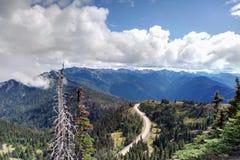 Vista aerea delle montagne e della foresta, la strada lungo la foresta fotografia stock