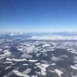 Vista aerea delle montagne innevate Fotografia Stock