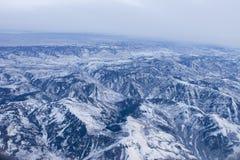 Vista aerea delle montagne rocciose Fotografia Stock