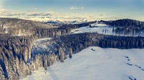 Vista aerea delle montagne sopra la foresta di inverno Immagini Stock Libere da Diritti