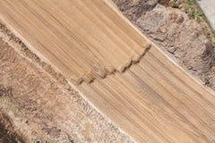 Vista aerea delle piste del motore della terra sulla sabbia Fotografie Stock Libere da Diritti