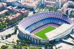 Vista aerea dello stadio di Camp Nou del FC Barcelona immagini stock libere da diritti