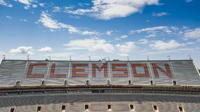 Vista aerea dello stadio di Frank Howard Field At Clemson Memorial Fotografia Stock