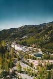 Vista aerea dello stadio di Medeo a Almaty, il Kazakistan Lo stadio di Medeo è il più su situato nel mondo - 1691 m. Fotografia Stock Libera da Diritti