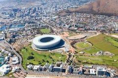 Vista aerea dello stadio verde del punto fotografia stock