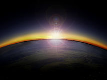 Vista aerea di alba sopra il lato del paese Fotografia Stock