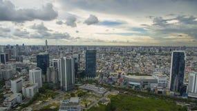 Vista aerea di alta costruzione al divieto del distretto della strada del ratchadaphisek Fotografia Stock
