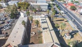 Vista aerea di Alte Feste e della High School di Windhoek Fotografia Stock