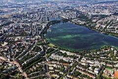 Vista aerea di Amburgo con il lago Alster Immagine Stock