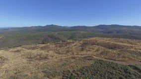 Vista aerea di area bruciata contro catena montuosa video d archivio
