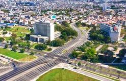 Vista aerea di Avana compreso il quadrato di giro Fotografie Stock Libere da Diritti