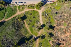 Vista aerea di bella montagna rurale a Pomona fotografie stock