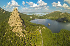 Vista aerea di bello lago Borovoe (Burabay), il Kazakistan della montagna immagine stock