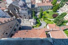 Vista aerea di bello orizzonte di Bergamo Alta, Italia Immagini Stock Libere da Diritti