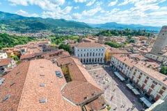 Vista aerea di bello orizzonte di Bergamo Alta, Italia Fotografia Stock