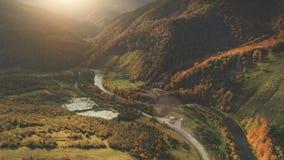 Vista aerea di bello paesaggio della montagna di autunno Immagini Stock