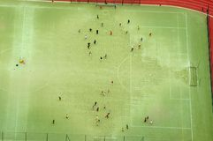 Vista aerea di calcio o di stadio di calcio Fotografia Stock Libera da Diritti