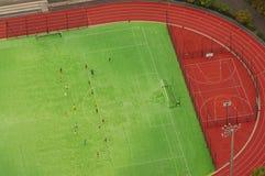 Vista aerea di calcio o di stadio di calcio Immagine Stock Libera da Diritti