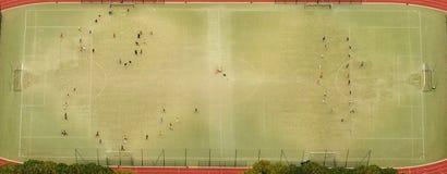 Vista aerea di calcio o di stadio di calcio Fotografie Stock Libere da Diritti