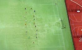 Vista aerea di calcio o di stadio di calcio Fotografie Stock
