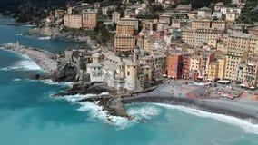Vista aerea di Camogli video d archivio
