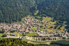 Vista aerea di Canazei Fotografia Stock Libera da Diritti