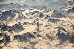 Vista aerea di catena montuosa in Leh, Ladakh, India Fotografia Stock Libera da Diritti