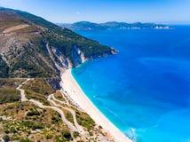 Vista aerea di Cephalonia Kefalonia Grecia della spiaggia di Myrtos Immagini Stock Libere da Diritti