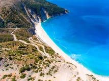 Vista aerea di Cephalonia Kefalonia Grecia della spiaggia di Myrtos Fotografia Stock