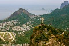 Vista aerea di Cristo la piattaforma della statua del redentore Fotografia Stock