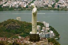 Vista aerea di Cristo la piattaforma della statua del redentore Fotografia Stock Libera da Diritti