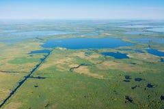 Vista aerea di delta di Danubio sopra la natura unica immagine stock libera da diritti
