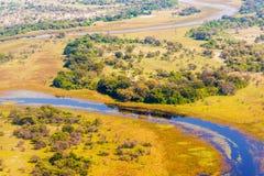 Vista aerea di delta di Okavango Immagini Stock Libere da Diritti