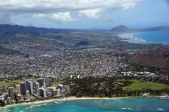 Vista aerea di Diamondhead, parco di Kapiolani, Waikiki, ala Wai Can Fotografia Stock